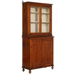 19th Century Country Sideboard Display Cabinet Solid Pine Restored Wax Polished