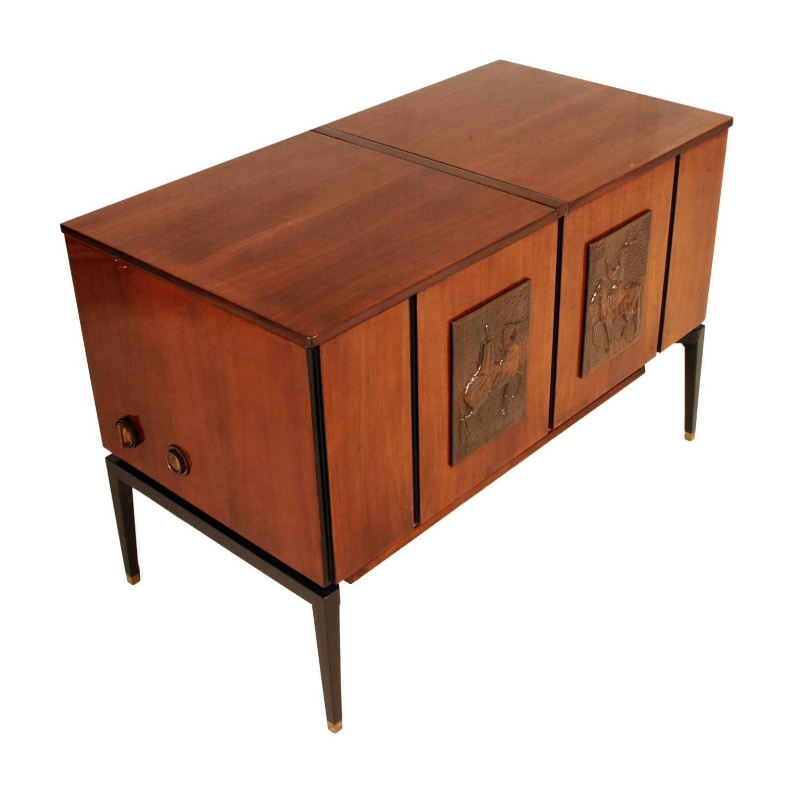 1970s Music Radio TV Record Player Cabinet In Mahogany Osvaldo Borsani  Style 2