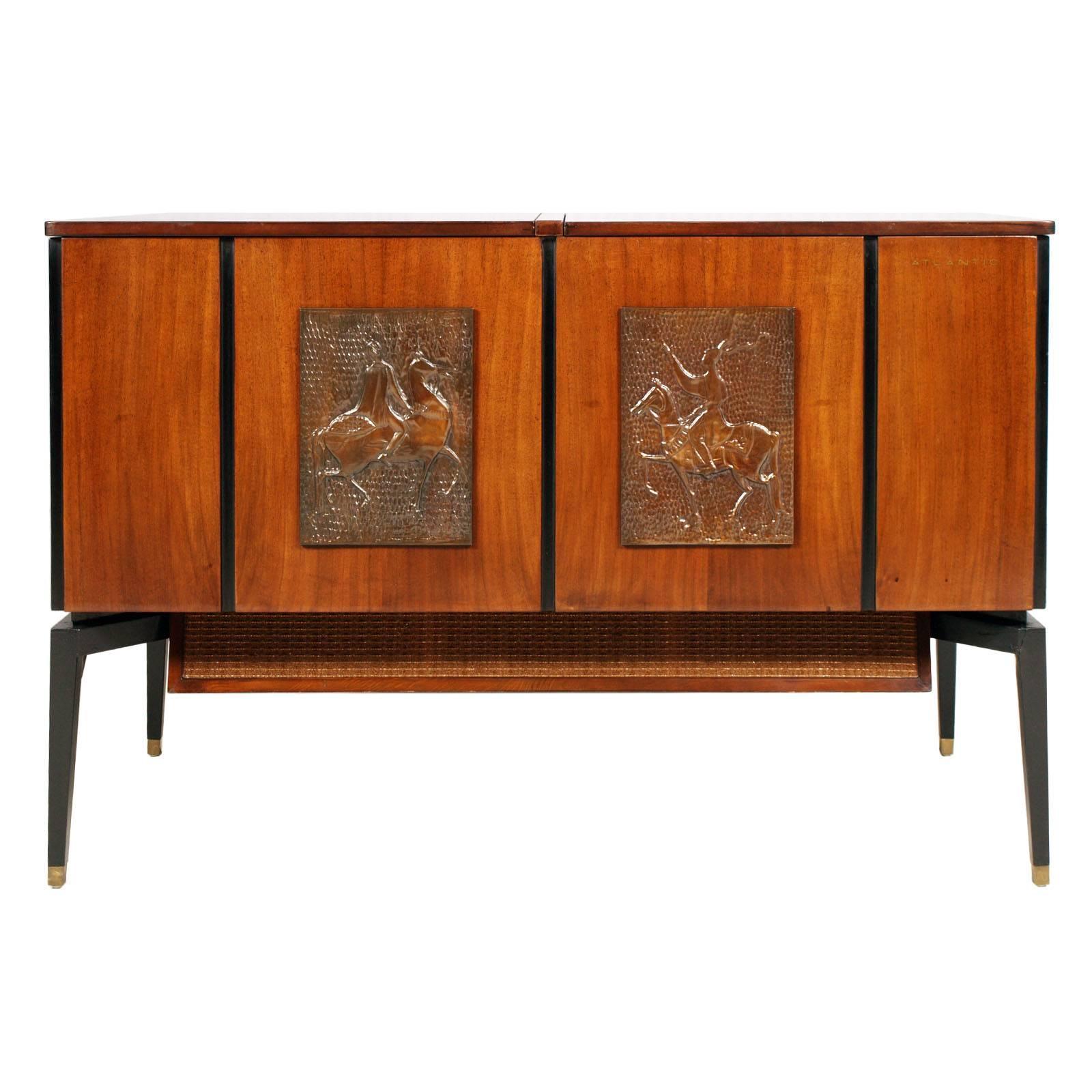 1960s Music Radio TV Record Player Cabinet in Mahogany Osvaldo Borsani Style