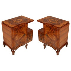1920s Art Deco Nightstands Cantù Production, Walnut and Burl Walnut Wax Polished