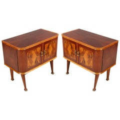 Midcentury Art Deco Nightstands Paolo Buffa Attributed Walnut Burl Inlaid Cantù