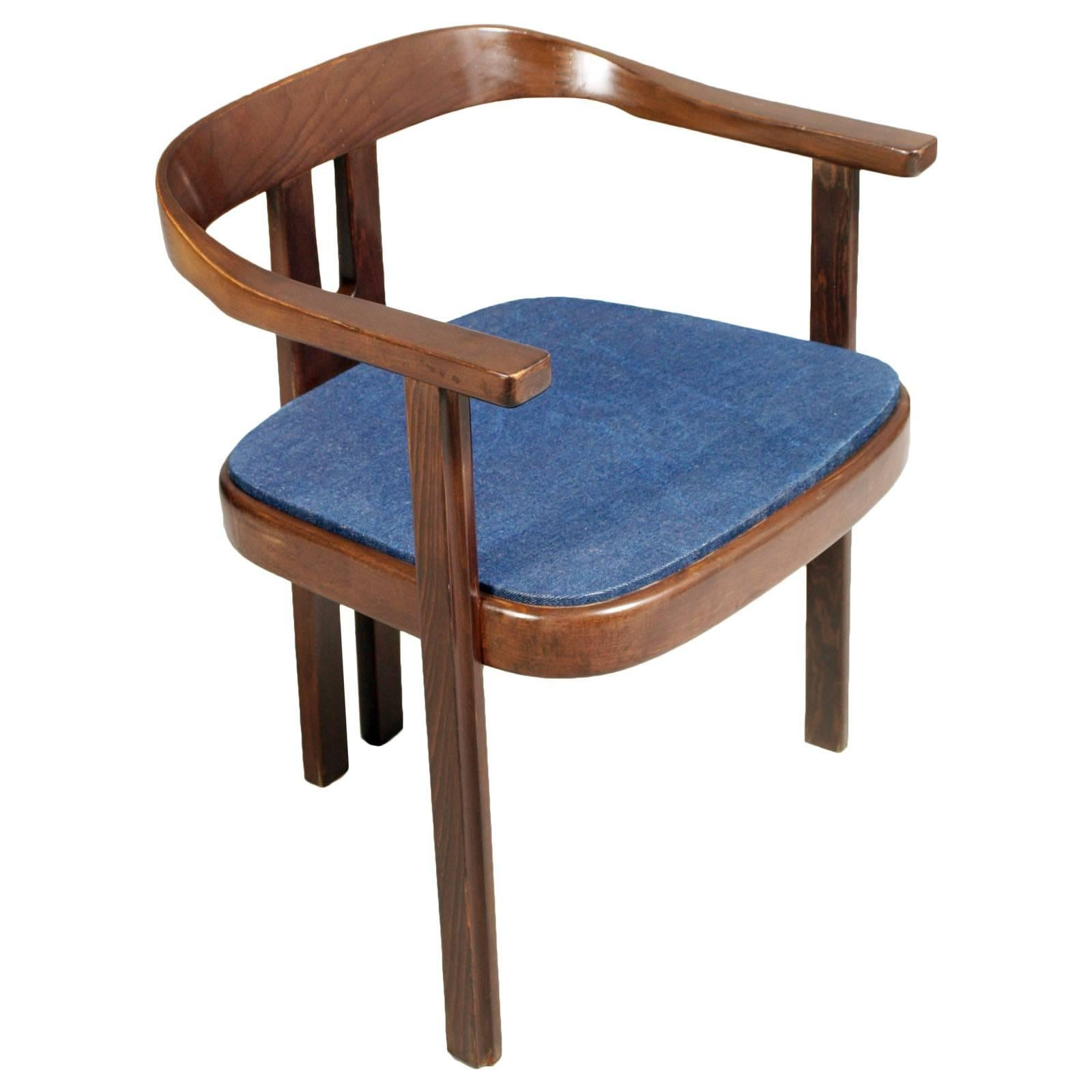 """Midcentury Walnut Armchair, Afra and Tobia Scarpa Style """"Pigreco Chair"""""""