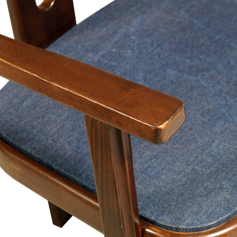 20th Century Midcentury Walnut Armchair, Afra and Tobia Scarpa Style