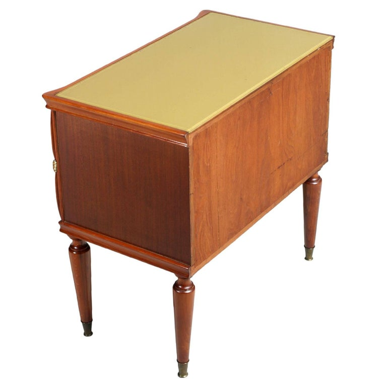 Appliqué Midcentury Nightstands from Cantù , Gio Ponti Style in Walnut and Veneer Walnut  For Sale