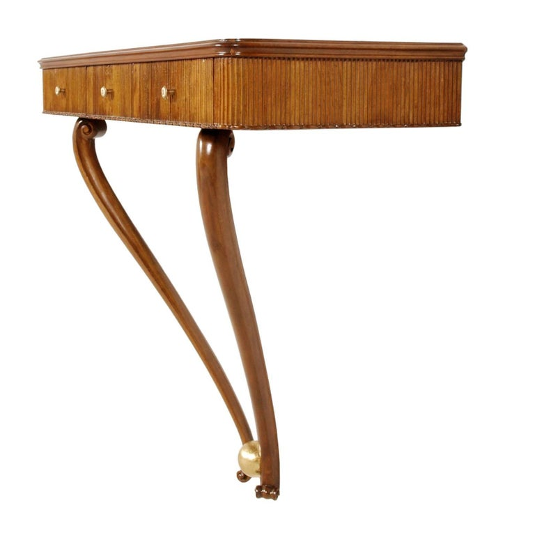 1940s Console Table Three Drawers by Osvaldo Borsani, Blond Walnut Wax-Polished 3