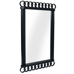 1930s Black Laquered Art Deco Mirror  Paolo Buffa attributed Cantù production