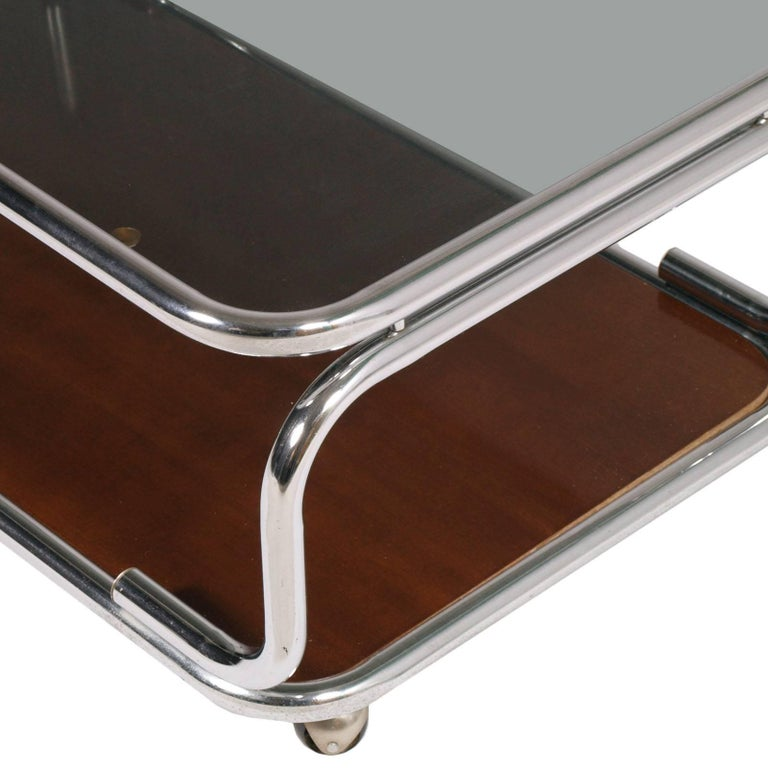 Mid-Century Modern 1960s Chrome Serving Trolley Coffee Table Smoked Glass Top & Faux Laminated Wood For Sale