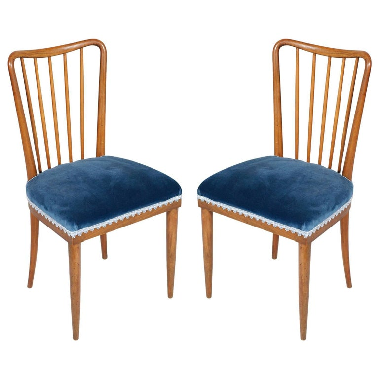 Mid-Century Modern 1950s Paolo Buffa Side Chairs in Blond Walnut New Upholstery