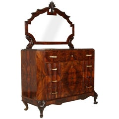 1920s Art Nouveau Dresser Carved Walnut Burl Walnut by Testolini Salviati Venice