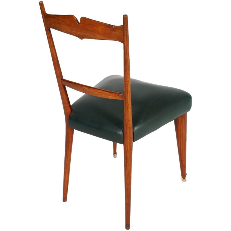 20th Century Italian Midcentury Six Chairs Ico and Luisa Parisi Attributed Cherrywood For Sale