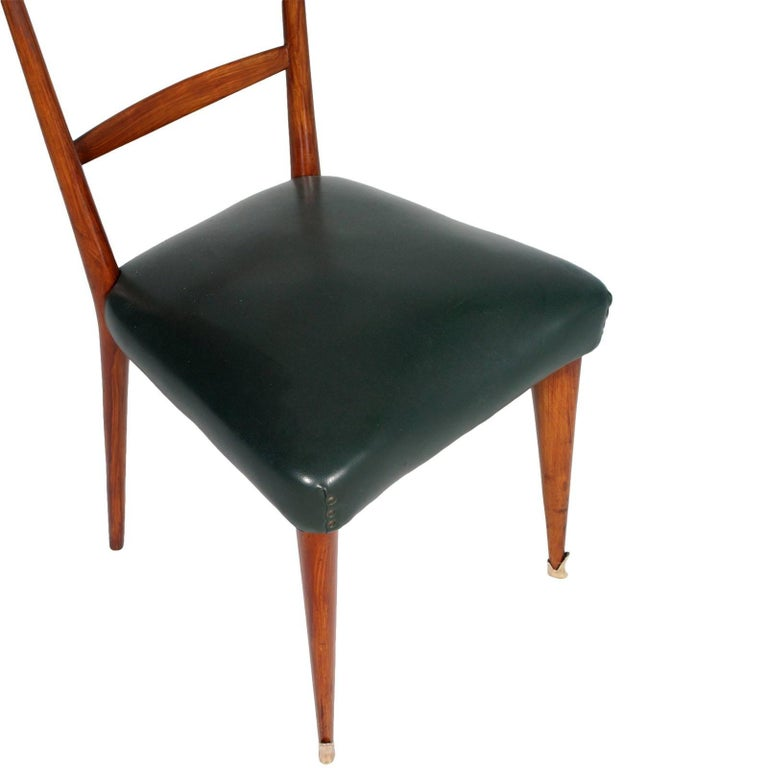 Gilt Italian Midcentury Six Chairs Ico and Luisa Parisi Attributed Cherrywood For Sale