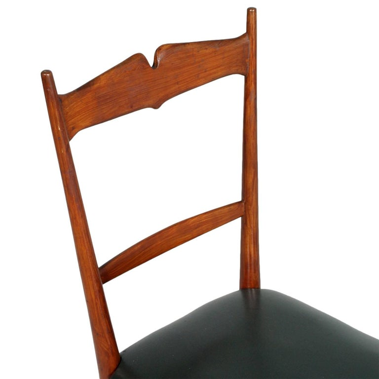 Mid-Century Modern Italian Midcentury Six Chairs Ico and Luisa Parisi Attributed Cherrywood For Sale