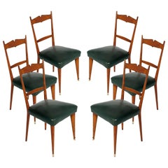 Italian Midcentury Six Chairs Ico and Luisa Parisi Attributed Cherrywood