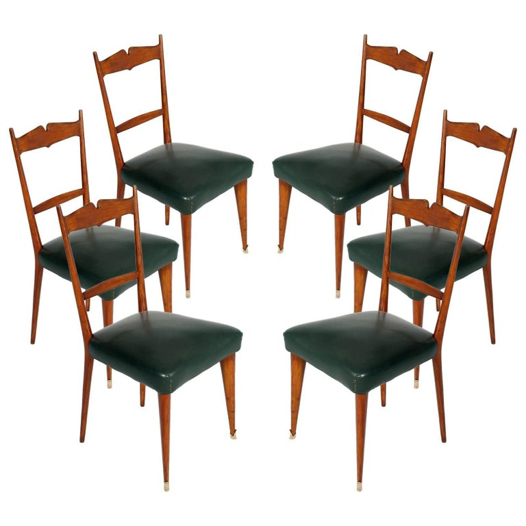 Italian Midcentury Six Chairs Ico and Luisa Parisi Attributed Cherrywood For Sale