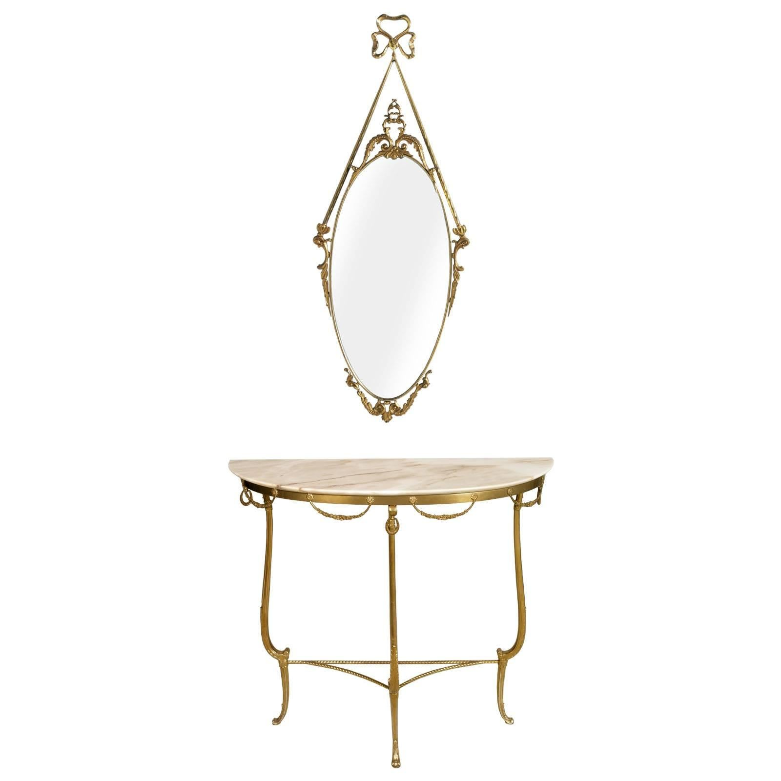 Gilt Bronze Venetian Console & Mirror, Marble Top, Vincenzo Cadorin Attributed