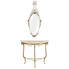 Gilt Bronze Venetian Console Mirrored, Marble Top, Vincenzo Cadorin Attributable