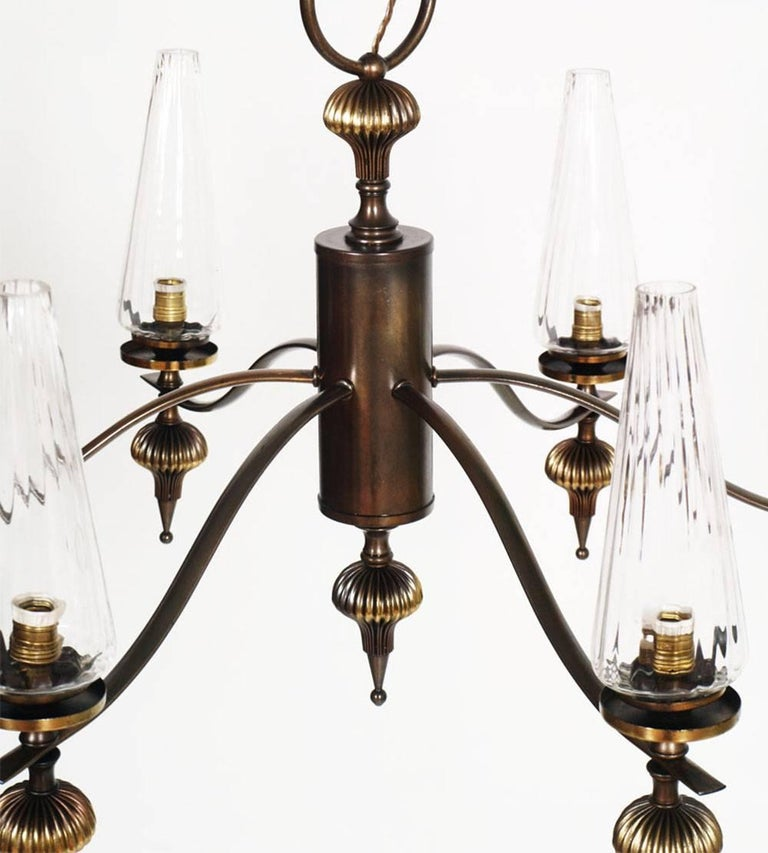 Italian 1930s Art Deco Six-Light Chandelier in Burnished Brass and Venini Murano Glass For Sale