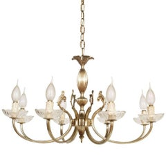Venice Midcentury Italy Art Nouveau Eight Lights Chandelier in Silvered Brass