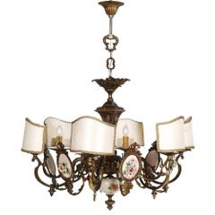 Art Nouveau Italy Six Lights Chandelier in Burnished Brass and Bassano Ceramic