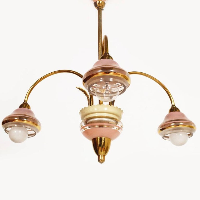 Italian Mid-Century Modern Art Deco Three Lights Chandelier Gilt Brass and Murano Glass For Sale