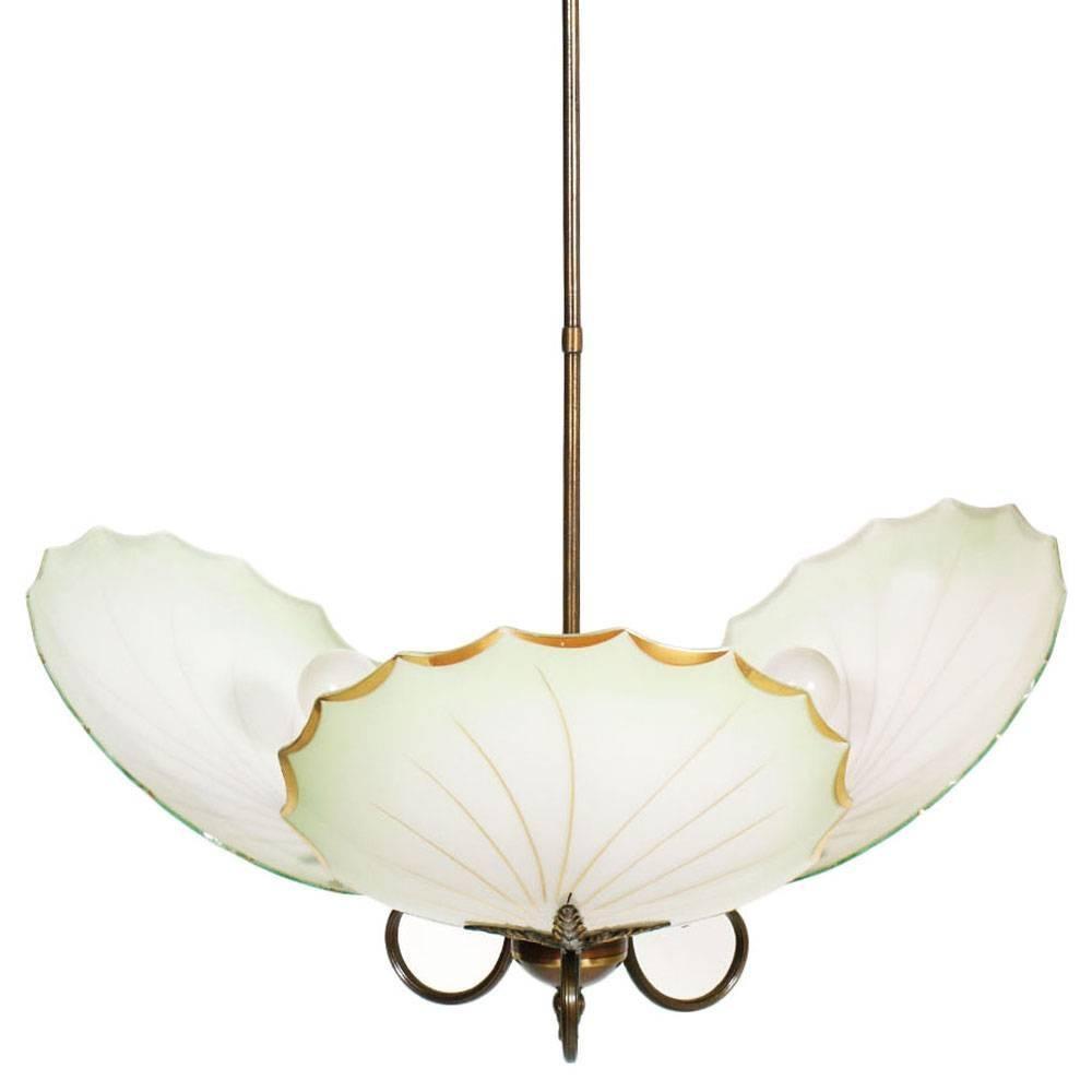 Midcentury Art Deco Chandelier Burnished Brass Three Lights Murano Glass Leaves