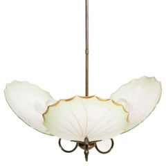 Midcentury Art Deco Chandelier Burnished Brass Three Lights Murano Glass Leaves
