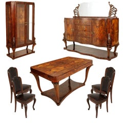 1920s Art Deco Dining Room Set, Table Chairs Sideboard, Venice Baroque, walnut