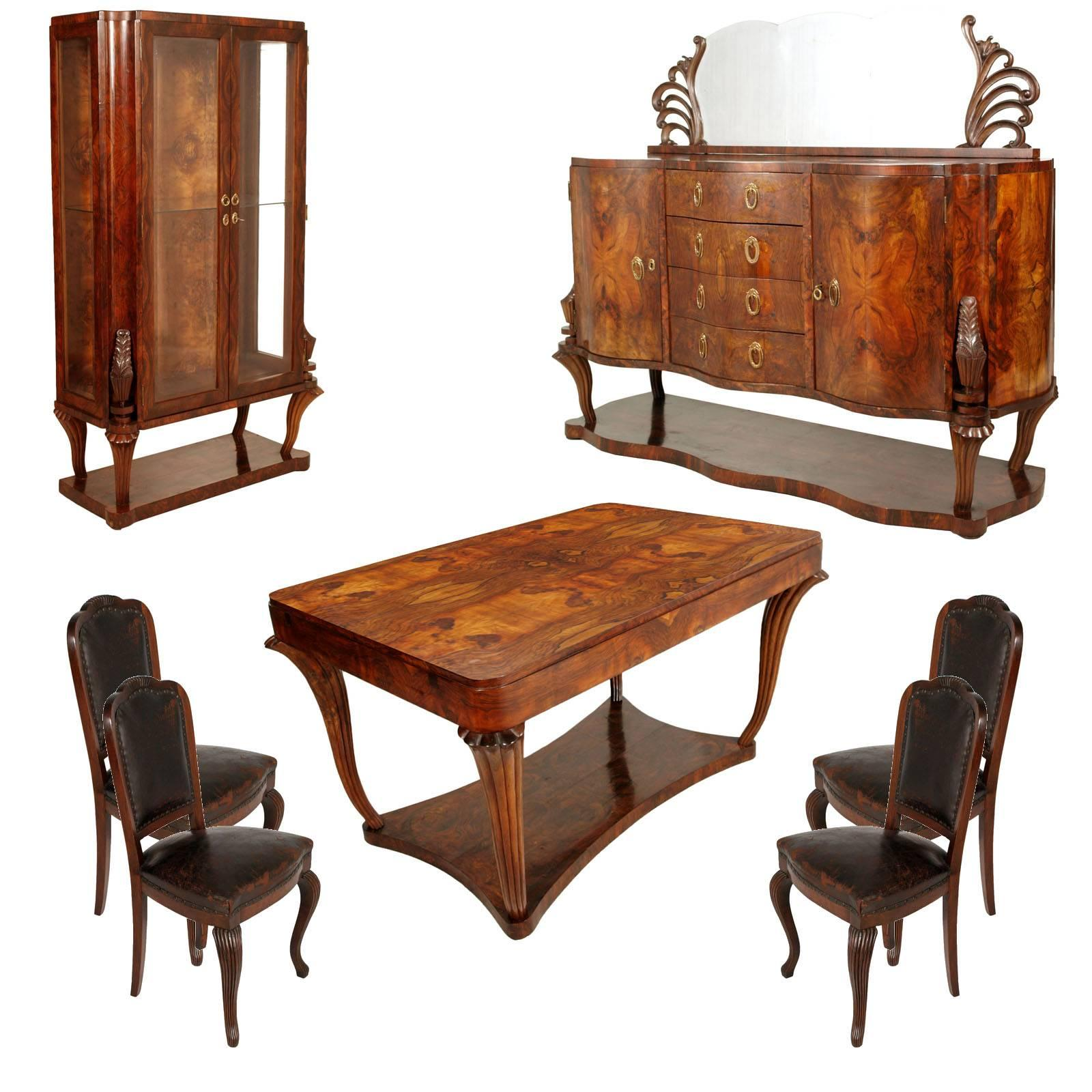 1920s Testolini U0026 Salviati Venice Baroque Art Deco Dining Room Set Burl  Walnut