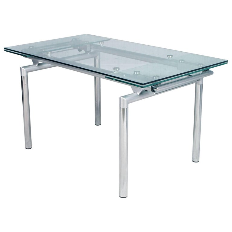 italian 1960s chromed and crystal extensible tecno table le corbusier style for sale - Table Extensible