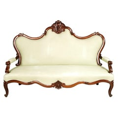 1800s Venetian Sofa Valentino Besarel Attributable, Hand-Carved Walnut