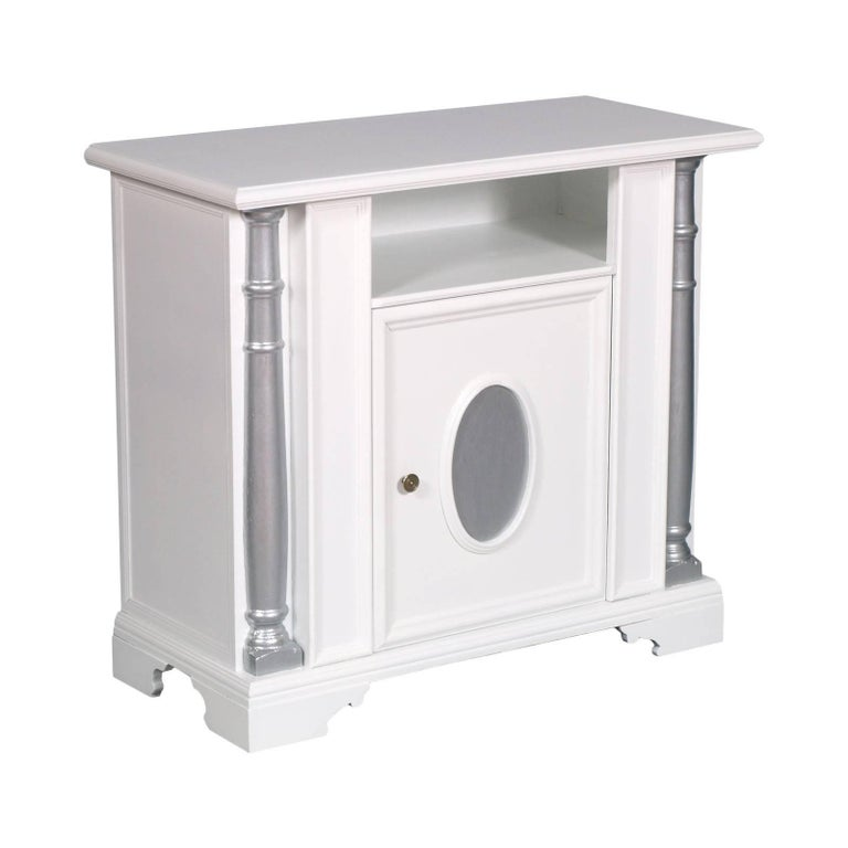 Italian White and Silver Painted Midcentury Entrance Cabinet or Console