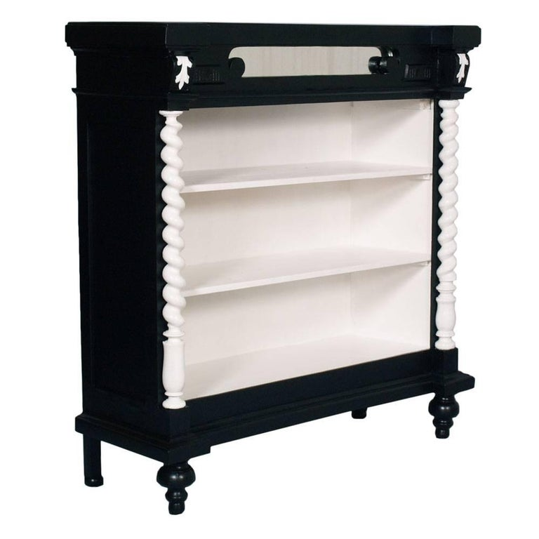 1900s Ebonized Neoclassic Bookcase in Carved Walnut Hand Lacquered Wax Polished For Sale