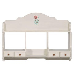 1940s, Italian Plate Rack, kitchen Shelf, dresser 4 Drawers, painted, decoratet