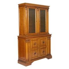 Italian Credenza Bookcase Midcentury Neoclassic-Renaissance Style Blond Walnut