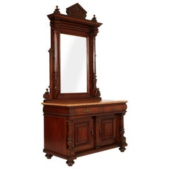 19th Century Italian Umbertino Vanity Mirrored Dressing Table in Walnut