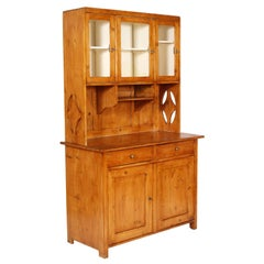 Early 20th C. Art Deco Tyrolean credenza sideboard in solid pine polished to wax