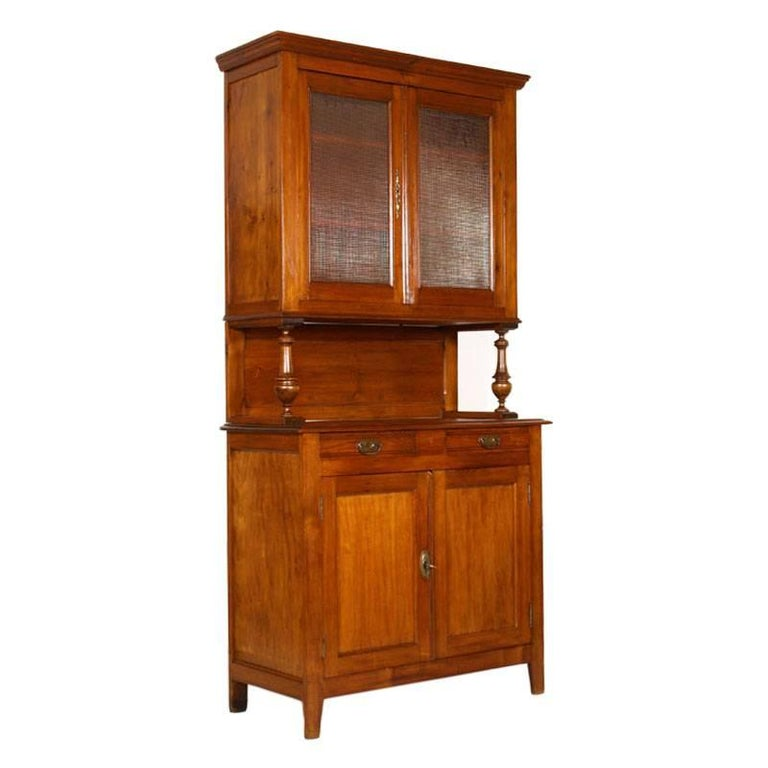 Late 19th Century Credenza Piemontese and Display Cabinet in Solid Wood Restored