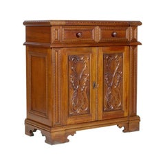 Midcentury Tuscan Renaissance Cabinet in Solid Carved Walnut Polished to Wax