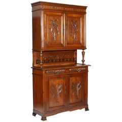 Art Nouveau Provencal Hand-Carved Solid Wood Sideboard Restored and Wax Polished