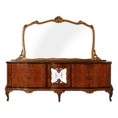 Large Venetian Baroque Chippendale Credenza with Dry Bar and Golden Leaf Mirror