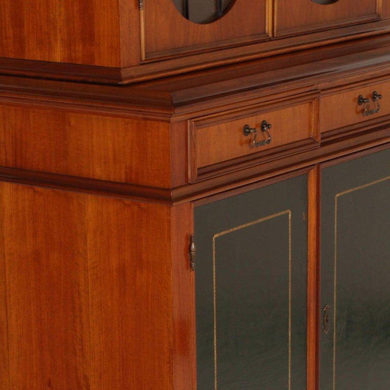 Painted Italian Midcentury 1930s Bookcase Walnut Veneer with Two Drawers, Wax Polished For Sale