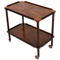 1938 Art Deco Bar Cart Paolo Buffa Attributed Ebonized And Burl Walnut Red