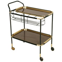 1960s Bar Cart, Golden Metal, Tray Double Face Mahogany Attributed to Ico Parisi