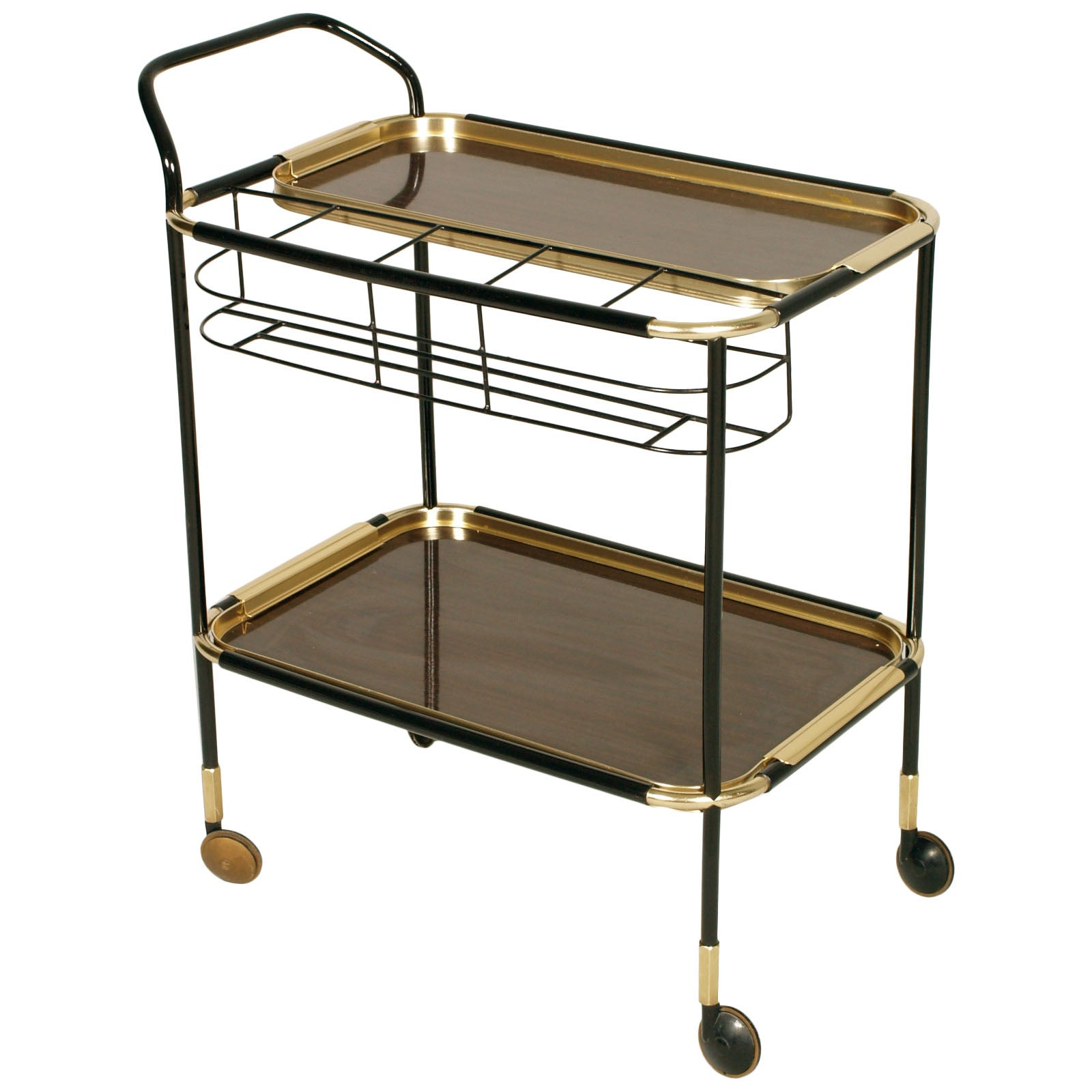 1960s Bar Cart, Golden Metal, Tray Double Face Mahogany Attributed ...
