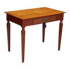 18th Century Rustic Desk Table, Country Table, Original Pinewood Laquered Waxed
