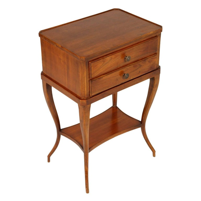 Early 20th Century French Louis XVI Table, Cabinet Nightstand in Walnut Polished