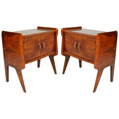 Pair of Vittorio Dassi Attributed Italian Nightstands, Gold Colored Glass Top