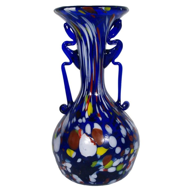 1920s Fratelli Toso Vase Carnivale with Polychrome Murrina and Aventurine