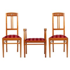 Italian Art Nouveau Side Chairs with Stool, Blond Walnut, Restored Wax-Polished