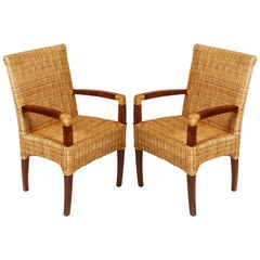 Pair of Fine French Art Deco Chairs in the Style of Jules Leleu Restored